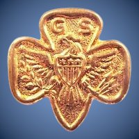 Early Girl Scout Tenderfoot Trefoil 3-Star Lapel Pin (1920-1924) (2-B) Style