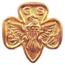 Early Girl Scout Tenderfoot Trefoil 3-Star Lapel Pin (1920-1924) (2-B) Style