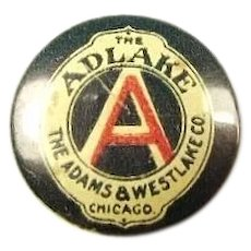 The Adlake Lantern Railroad Supplies The Adams & Westlake Company Chicago Lapel Stud Pin ca. 1896-1900