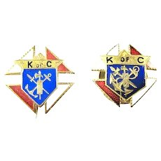 2 Knights of Columbus Members Lapel Pins early 1900's