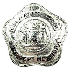 New York (City) Fire Department Fire Alarm Telegraph Badge #457 ca. 1940s