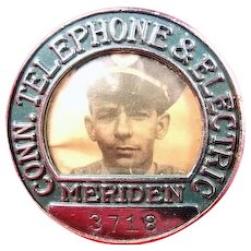 Connecticut Telephone & Electric Meriden Photo ID Badge Police ca. 1940s