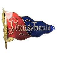 University of Pennsylvania Pendant Flag Enameled Badge Pin Early 1900's