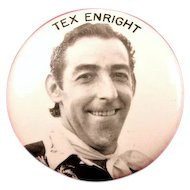 Tex Enright Race Car Driver EMPA Hall of Fame The Flagman of Flagmen Souvenir Pinback Button 1950's
