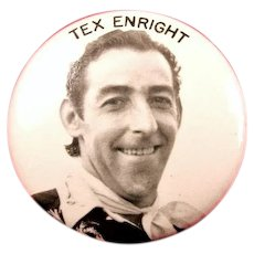 Tex Enright Race Car Driver EMPA Hall of Fame The Flagman of Flagmen Souvenir Pinback Button 1950's