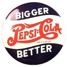 Pepsi Cola Advertising Celluloid Pinback Button ca. 1940's