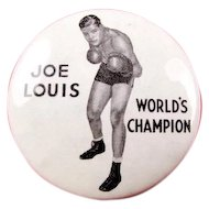 Joe Louis World's Champion Heavy Weight Boxer Souvenir Pinback Button ca. 1940's