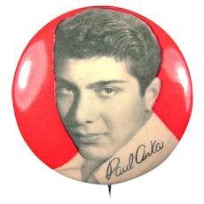 Paul Anka Singer Songwriter Fan Club Pinback Button 1950's