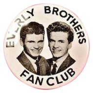 Everly Brothers Fan Club Rockabilly Pinback Button ca. late 1950s-60