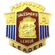 Plymouth Automobile Company Salemen's League Leader Pin ca. 1940's-50's