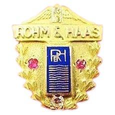 Rohm & Haas 20 yrs. Service Pin Plexiglass Leavens 10K
