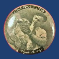 Cole Bros. Circus Clyde Beatty Souvenir Pinback Button 1930's