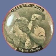 Cole Bros. Circus Clyde Beatty Souvenir Pinback Button 1930's