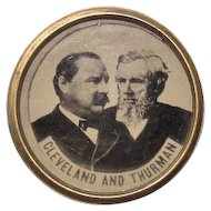 1888 Cleveland & Thurman Jugate Tintype Photograph Presidential Campaign Lapel Stud Button