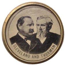 1888 Cleveland & Thurman Tin-Type Photograph Lapel Stud