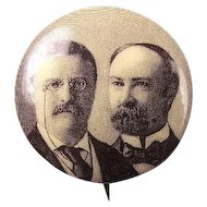 1904 Teddy Roosevelt and Fairbanks Sepia Tone Photograph Presidential Campaign Pinback Button