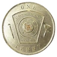 No 70 R.A.M. Central City Syracuse, NY Royal Arch Mason Masonic One Penny Pocket Piece named and dated