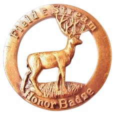 Field & Stream Hunting Award Honor Badge Mule Deer Pin ca. 1940's-1950's