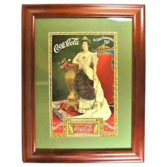 1904 Coca-Cola Lillian Nordica Opera Singer Advertising Lithograph Full Sheet Free Glass of Coca-Cola Coupon Framed