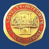 Mack Truck 10 Years Service Pin ca. 1940s-50s