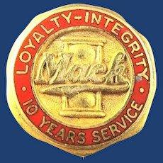 Mack Truck 10 Years Service Pin ca. 1940s-50s