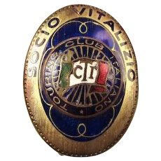 "Touring Club of Italy ""Socio Vitalizio"" (Life Member) Pin ca. 1900-1937"