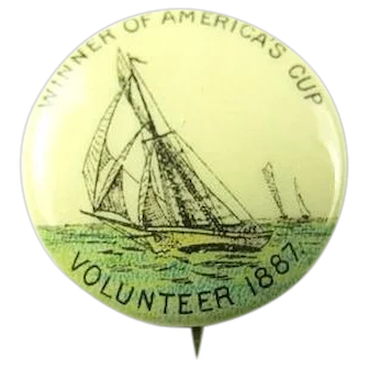Americas Cup Winner 1887 Volunteer American Pepsin Gum Co. Premium Pinback Button ca. 1896