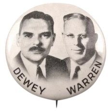 1948 Dewey & Warren Republican Jugate Political Campaign Pinback Button 1-3/4""