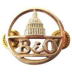 B & 0 Baltimore & Ohio Railroad Employee Collar Disc Insignia ca. 1950's