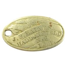 Eagle Knights of Pythias Haddon Lodge Named ID Tag Haddonfield, NJ Dated 1881