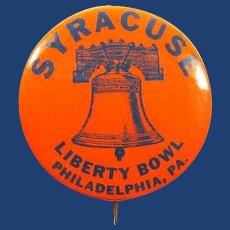 Syracuse University 1961 Liberty Bowl, Philadelphia Football Souvenir Pinback Button