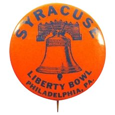 Syracuse University 1961 Liberty Bowl, Philadelphia Football Souvenir Pinback Button