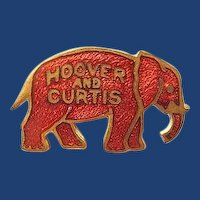 Hoover and Curtis 1928 Presidential Campaign Red Enamel GOP Elephant Pin