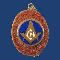 Masonic Blue Lodge Goldstone Pendant ca. 1900-1920's