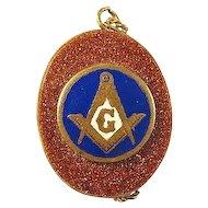 Masonic Blue Lodge Goldstone Pendant ca. earlier 1900's