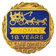 Thomas (Breads) English Muffins Company 18 years Safe Driver Award Pin