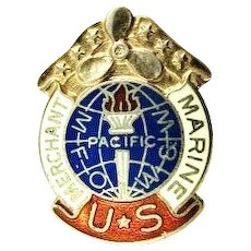 WWII US Merchant Marines M F. O. W. & W. Pacific Service Lapel pin Stud Sterling