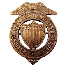 WWI (US) National League For Woman's Service Badge Bronze