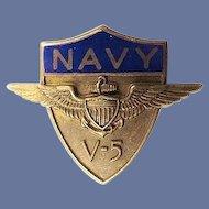 WWII US Navy V-5 Preflight Program Members Collar or Mess Cap Insignia Sterling GW
