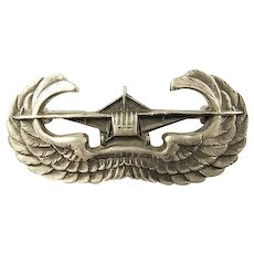 WWII US Army Air Corps Glider-Borne Soldiers Qualification Winged Breast Badge Sterling