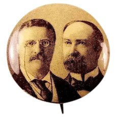 1904 Roosevelt and Fairbanks Sepia Tone Photograph Presidential Campaign Pinback Button