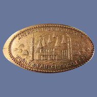 """1933 Chicago Worlds Fair Souvenir Stretch Penny """"American Indian Villages"""""""