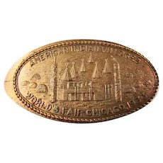 "1933 Chicago Worlds Fair Souvenir Stretch Penny ""American Indian Villages"""