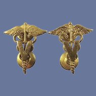 US Army Veterinarian Corps Officers Collar Insignia Pair WWII or Earlier