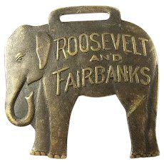 1904 Roosevelt and Fairbanks Political Campaign Watch Fob Brass