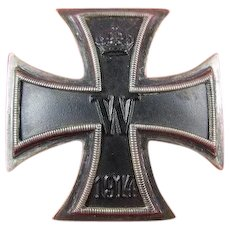 WWI German Prussian First Class Iron Cross Vaulted Pinback .800 Silver Beauty!