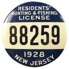1928 New Jersey Residents Hunting and Fishing License Badge #88259