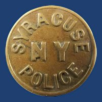 Syracuse NY New York Police Special Purchase Bronze One-Piece Uniform Button ca. 1880's or Earlier