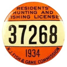 1934 New Jersey Residents Hunting and Fishing License Badge #37268