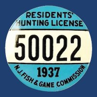 1937 New Jersey Residents Hunting License Badge #50022